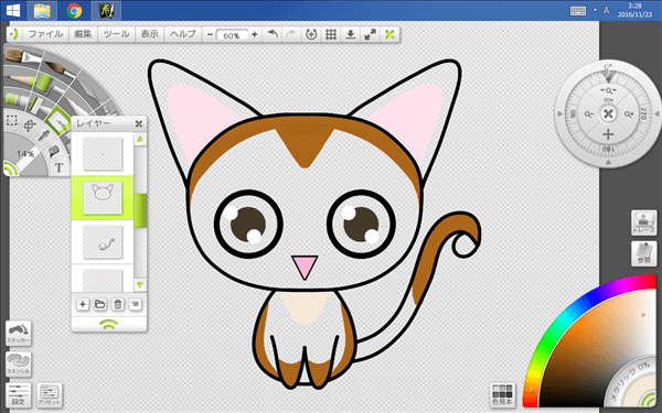 線と模様だけの猫イラストの図