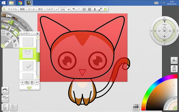 猫頭部の線画レイヤーステンシル化の図