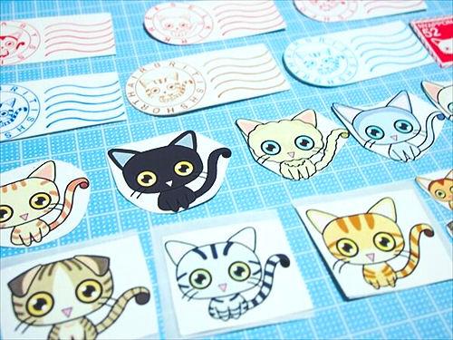 黒猫や茶トラのイラストシール、郵便スタンプシール