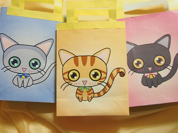 黒猫、マルチカン、ロシアンブルーのミニギフトバッグ