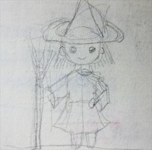 クロッキー帳に描いた、魔女の鉛筆スケッチ