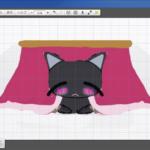 コタツの中でぬくぬくとしている黒猫のイラスト