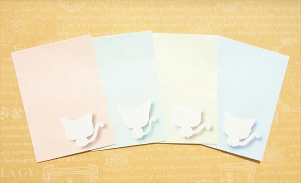 おとなしいデザインだから、会社でも使いやすい。猫シルエットぽち袋4色セットのサンプル