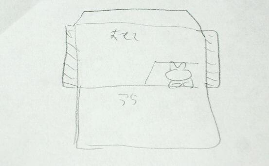 猫ポチ袋の型紙案