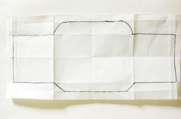 横向きミニ封筒の型紙