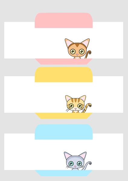 猫ミニ封筒(横向きポチ袋)その1
