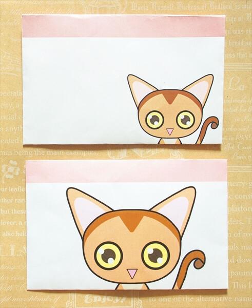 猫ミニ封筒その1アビシニアン