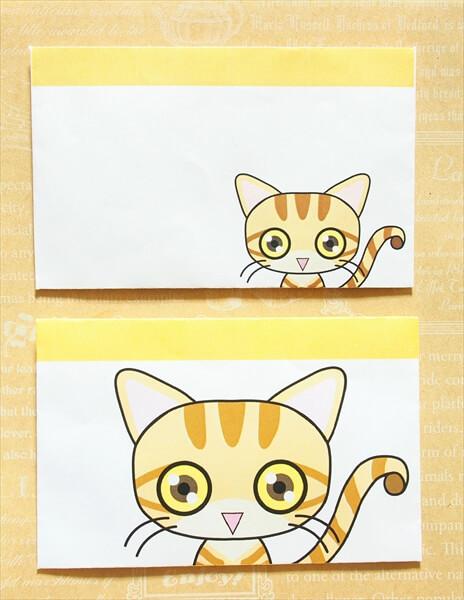 猫ミニ封筒その1:マンチカンの通常版とビッグ版
