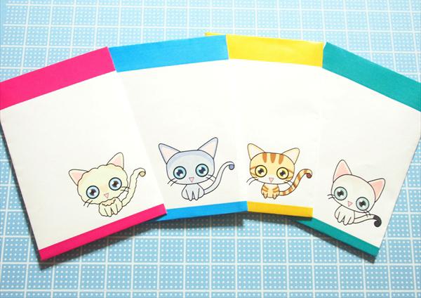 フリー素材:猫ポチ袋その2のサンプル