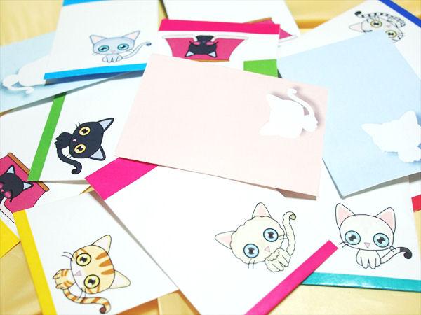 フリー素材:猫の封筒セット