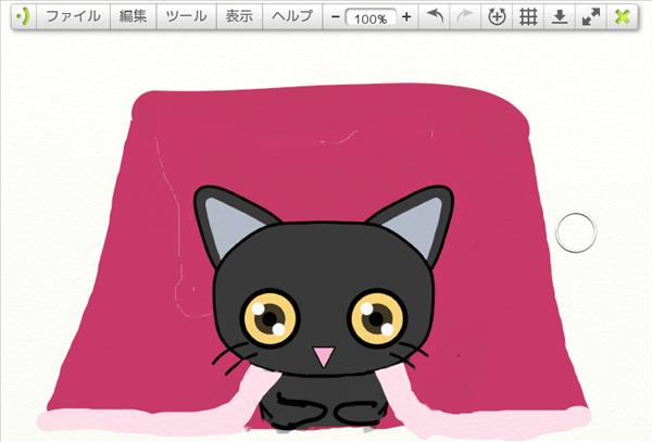 炬燵に入った黒猫の図
