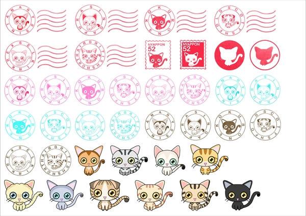 猫がいっぱいフリーシールセット