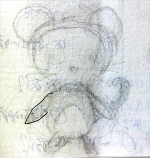 鉛筆でクロッキー帳に描いたネズミのスケッチ