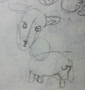 クロッキー帳に鉛筆で描いた、ヤギらしき生物のスケッチ