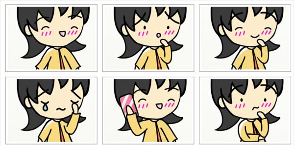 若い女性の表情やしぐさの異なる6パターン絵