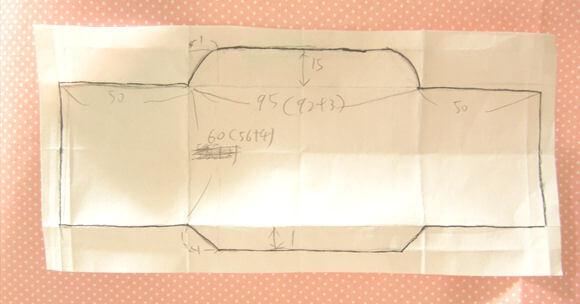 完成したミニ封筒試作品に寸法を入れる