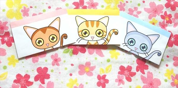 猫3匹のミニ封筒セットです。ポチ袋やメッセージカード入れにどうぞ。かなり猫イラストが大きいので、猫好き以外へお渡しは非推奨。フリー素材として無料配布しています。