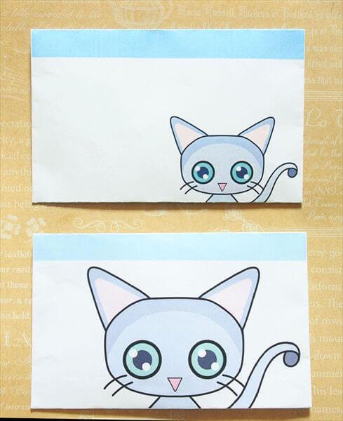 猫ミニ封筒その1:ロシアンブルー