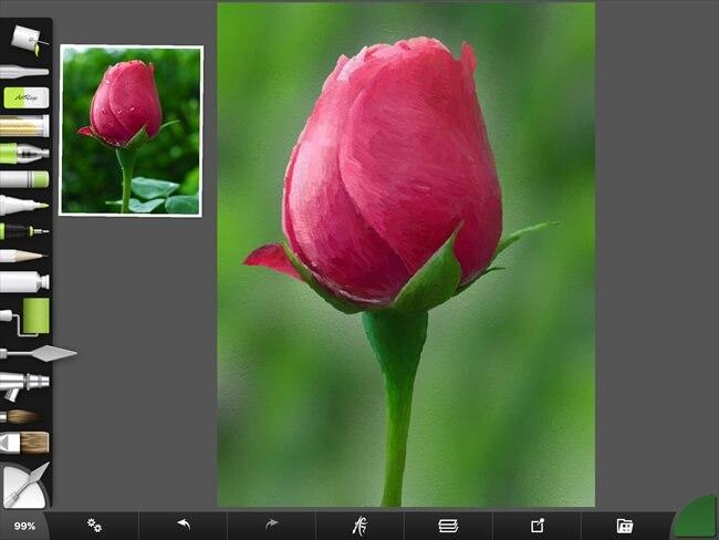 iPadで写真から描いたチューリップの油絵