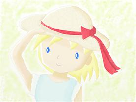 大人の塗り絵(水彩着色):麦藁帽子の少女
