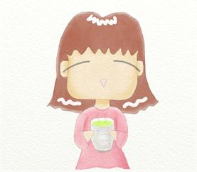 大人の塗り絵(水彩着色):お茶飲んでほっこり